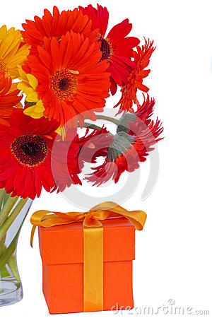 Gerbera fresh  flowers in glass vase with gift
