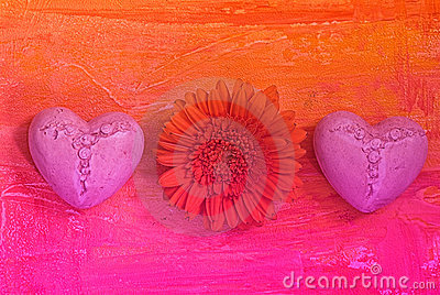 Gerbera and hearts