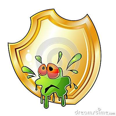 Germ is splashed on shield