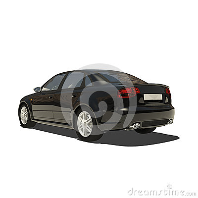 German Black Car Isolated on White