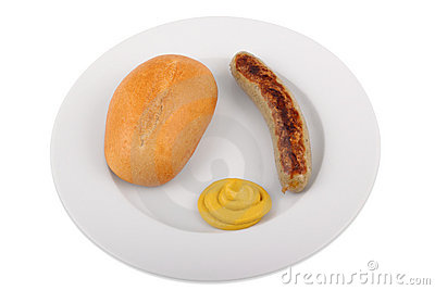 German bratwurst with bun and mustard