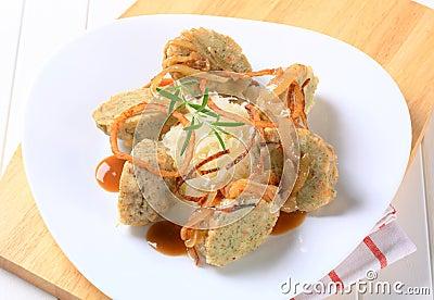 German bread dumplings with sauerkraut and onion