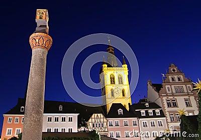 German buildings at night