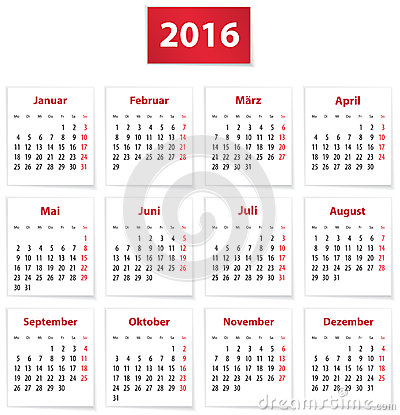 Calendar for 2016 year in German on white paper. Vector illustration.