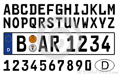 german car plate with symbols numbers and letters