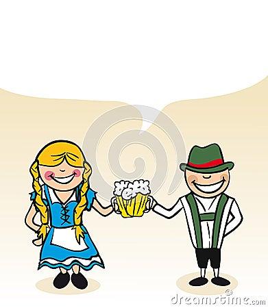 German cartoon couple bubble dialogue