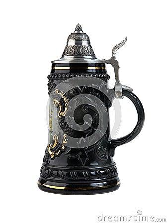 German ceramic pub mug isolated