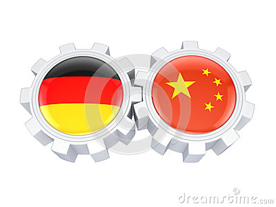German and chinese flags on a gears.