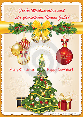German Christmas And New Year Greeting Card Stock Vector - Image ...