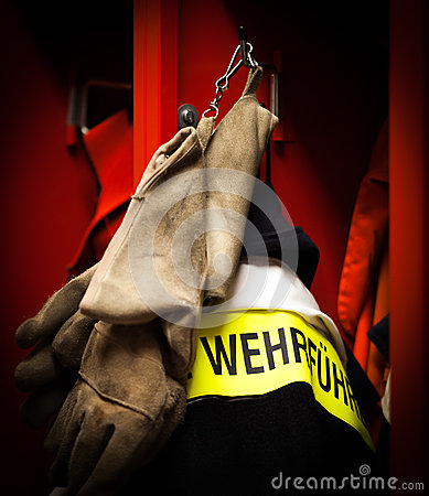 German Fire department fire protection jacket leader Stock Photo