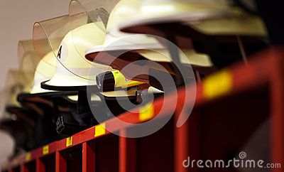 German fire helmets lined with lamp Stock Photo