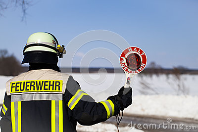German Firefighter blocks a road Stock Photo