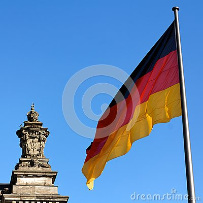 German Flag Reichstag Detail
