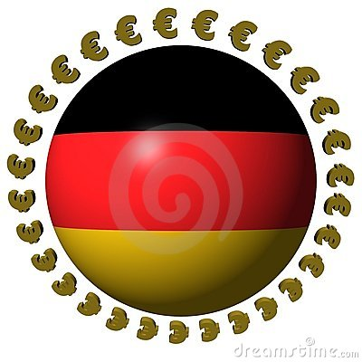 German flag sphere with euros