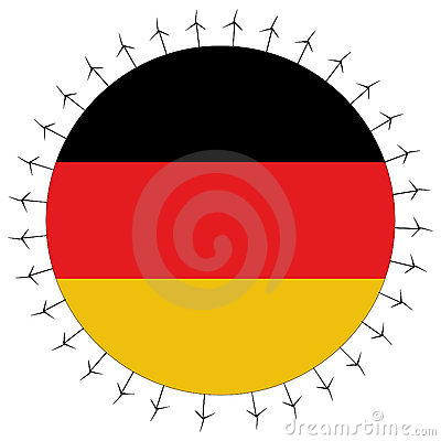 German flag with wind turbines