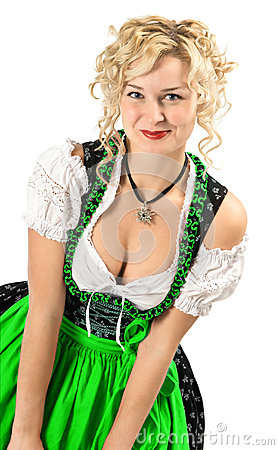 German girl in typical oktoberfest dress