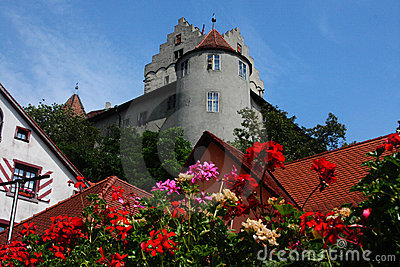 German medieval grey castle with flowers