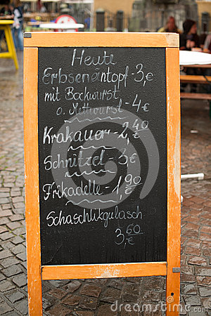 German menu board on the street