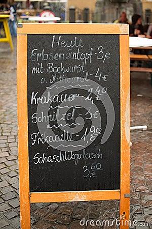 German menu board on the street