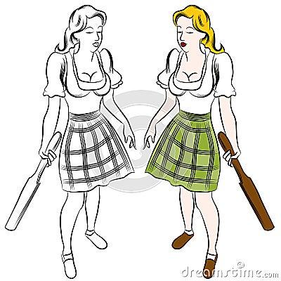 German Paddle Girl