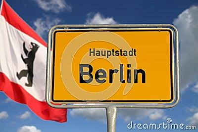 German road sign capital city Berlin
