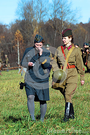 German and Russian women-reenactors Editorial Stock Image