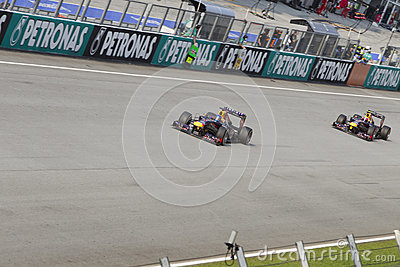 Sebastian Vettel leads Mark Webber Editorial Photo
