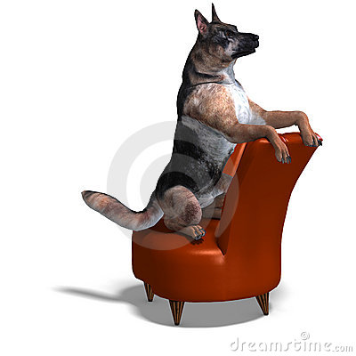 German Shepherd Dog. 3D rendering with clipping