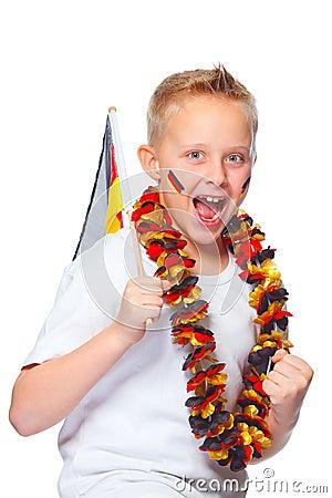 German soccer fan cheering