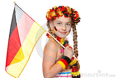 German soccer fan with flag on white