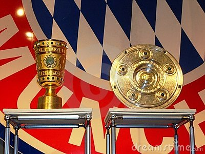 Home gt editorial photo german soccer trophies and bayern munich logo