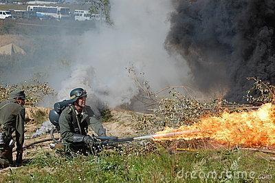 German soldier with flame-thrower