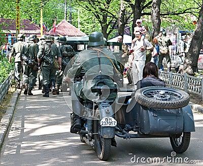 German soldier on motorbike Editorial Image