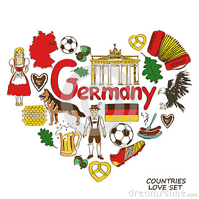Free German Symbols In Heart Shape Concept Stock Photo - 48125560