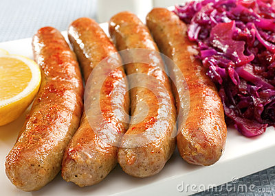 German Thuringer Bratwurst with Red Cabbage