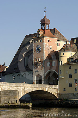 German town regensburg with historical buildings