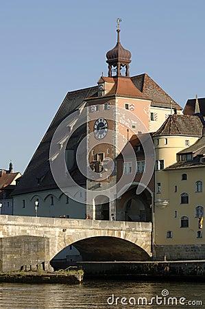 German town regensburg with historical buildings
