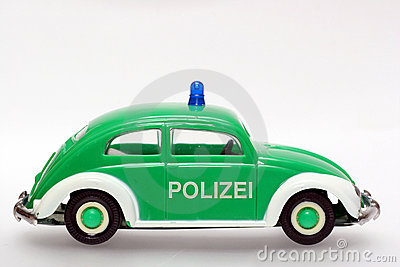 German toy police car VW Beetle sideview