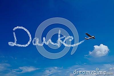 German word Danke in sky