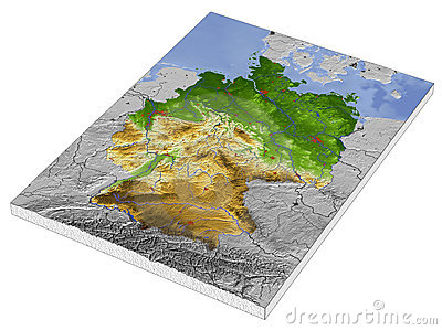 Germany, 3D relief map