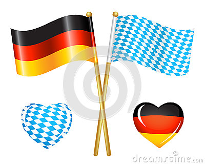 Germany and Bavaria flags icons