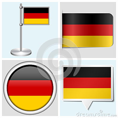 Germany flag - set of sticker, button, label
