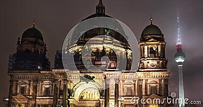 germany Intervallo di notte di inverno di Berlino di Berlin Cathedral archivi video