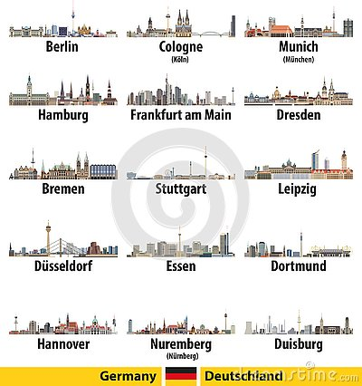 Germany largest cities skylines isolated icons vector illustration Vector Illustration