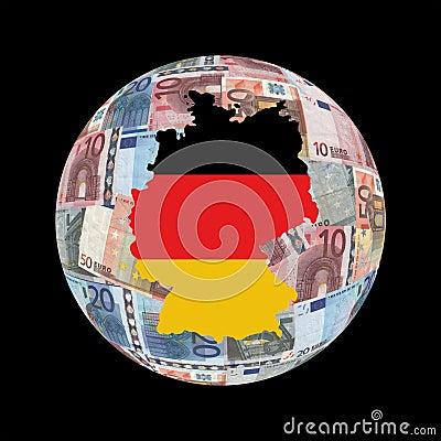 Germany map on euros globe