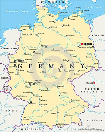 Free Germany Political Map Royalty Free Stock Photos - 103522978