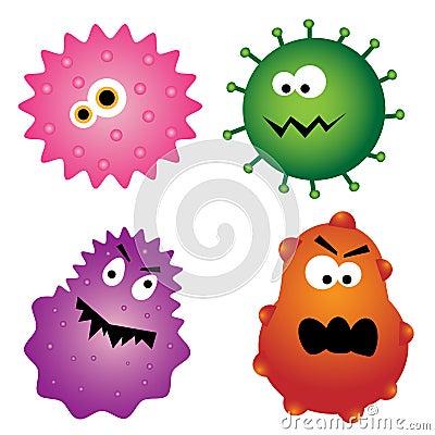 Ensemble de quatre germes de virus de dessin animé d'isolement sur le