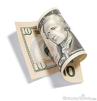 Gerollt 10 Dollarschein