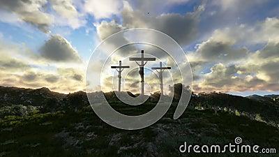 Gesù sull'incrocio, prato con le olive, tramonto di lasso di tempo, metraggio di riserva video d archivio