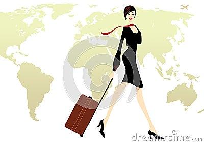 Geschäfts-Dame im Schwarzen mit einer Gepäckreise